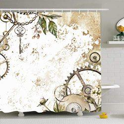Ahawoso Shower Curtain 72×72 Inches Gold Watercolor Steam Punk Clockwork Leaves Glod Scrape ...