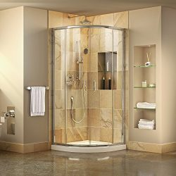 DreamLine Prime 33 in. x 74 3/4 in. Semi-Frameless Clear Glass Sliding Shower Enclosure in Chrom ...