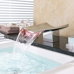 Dr Faucet Deck Mount 2 Handle 3 Hole Widespread LED Waterfall Bathroom Bath Tub Faucet 6.3 Inch  ...