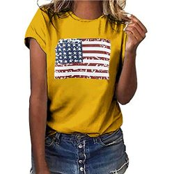 Women's American Flag July 4th Tops Summer Short Sleeve Patriotic T-Shirt USA Print Blouse ...