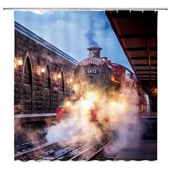 AMNYSF Steam Engine Shower Curtain Vintage Train Magic Platform Decor Fabric Bathroom Curtains,W ...