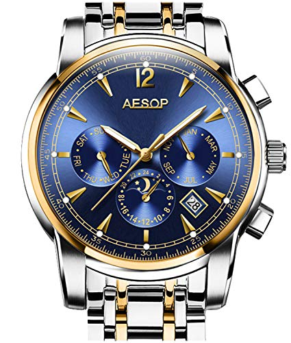 Mens Automatic Mechanical Watch Gold And Silver Stainless Steel Multifunction waterproof Blue Wa ...