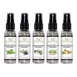 EuroSpa Aromatics Pure Eucalyptus Oil ShowerMist and Steam Room Spray, All-Natural Premium Aroma ...
