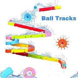 Fajiabao Bath Toys Slide Splash Water Ball Track Stick to Wall Bathtub for Toddlers DIY Waterfal ...