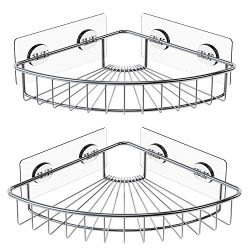 SMARTAKE 2-Pack Corner Shower Caddy, SUS304 Stainless Steel, Wall Mounted Bathroom Shelf with Ad ...