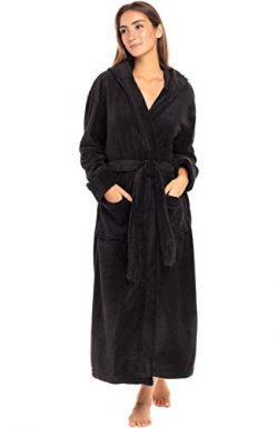 Alexander Del Rossa Women's Plush Fleece Robe with Hood, Warm Bathrobe Small Medium Black  ...