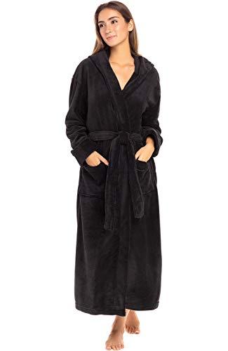 Alexander Del Rossa Women's Plush Fleece Robe with Hood, Warm Bathrobe Small Medium Black  ...
