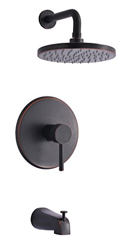 Derengge TF-0093-ORB Single Handle Tub & Shower Faucet, Pressure Balanced Valve, Anti-Scald, ...