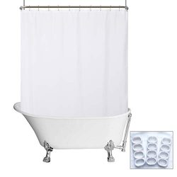 N&Y HOME Waterproof Fabric Clawfoot Tub Shower Curtain 180 x 70 inch All Wrap Around, 36 Hoo ...