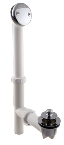 Westbrass Y594244CP White Tubular Twist & Close Bath Waste and Overflow Assembly, Polished C ...