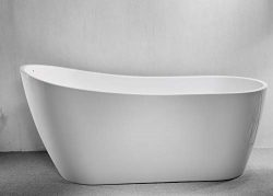 CRACCO SPA Acrylic Freestanding Bathtub Contemporary Soaking Tub With Chrome Overflow and Drain