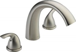 Delta Faucet Classic 2-Handle Widespread Roman Tub Faucet Trim Kit, Deck-Mount, Stainless T2705- ...