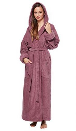 Arus Women's Full Length Long Tall Hooded Soft Twist Turkish Cotton Bathrobe Plum Medium