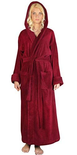 Arus Women's Full Length Long Tall Hooded Soft Twist Turkish Cotton Bathrobe Burgundy Large