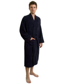 TowelSelections Men's Robe, Turkish Cotton Terry Kimono Bathrobe Medium/Large Navy