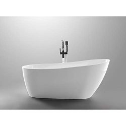 Vanity Art 55-inch Freestanding White Acrylic Bathtub | UPC certified Modern Stand Alone Soaking ...