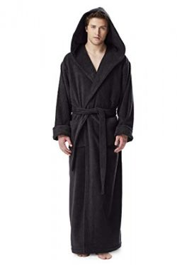 Arus Men's Hood'n Full Ankle Length Hooded Turkish Cotton Bathrobe Black XX-Large
