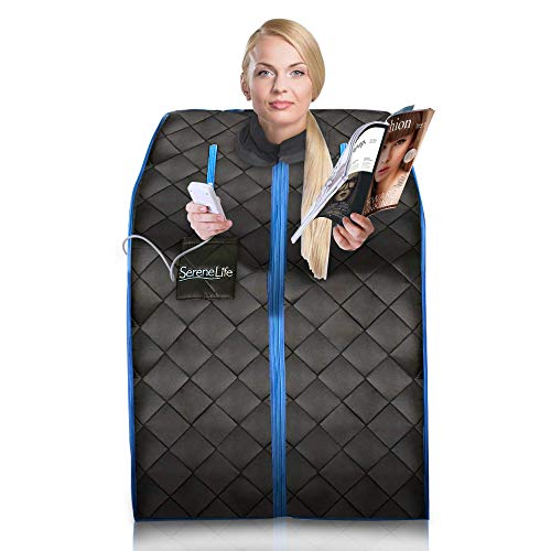 SereneLife Portable Infrared Home Spa | One Person Sauna | with Heating Foot Pad and Foldable Ch ...
