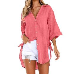 T Shirts for Women Tops for Women Womens Loose Button Long Shirt Dress Cotton Ladies Casual Tops ...
