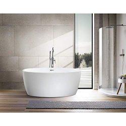 Vanity Art 55-Inch Freestanding White Acrylic Bathtub | UPC certified Modern Stand Alone Soaking ...
