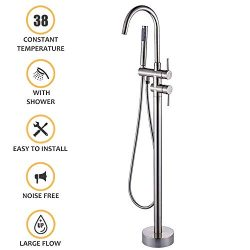 Dicoosy Tub Filler Freestanding Bathroom Faucet Brushed Nickel Single Handle Floor Mounted Fauce ...