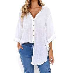 Loose Button Long Sleeve Shirt Dress Cotton Linen Blouse Casual Solid Top White