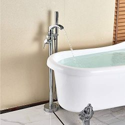 Senlesen Bathroom Single Handle Freestanding Bathtub Faucet Floor Mounted Waterfall Tub Filler w ...