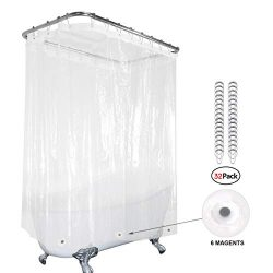 Clear Clawfoot Tub All Around Shower Curtain 180×70 Inch with Magnets Wrap Around Bathroom  ...