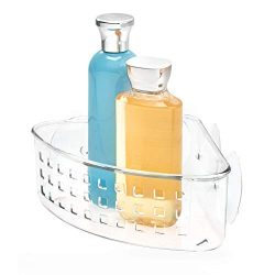 iDesign Plastic Bathroom Suction Holder, Shower Organizer Corner Basket for Sponges, Scrubbers,  ...