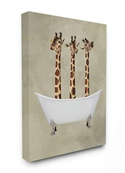 The Stupell Home Decor Three Giraffes in A Bathtub Stretched Canvas Wall Art, 16×20, Multi- ...