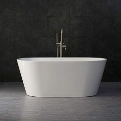 WOODBRIDGE BTA 1514 59″ Acrylic Freestanding Bathtub Contemporary Soaking Tub with Brushed ...