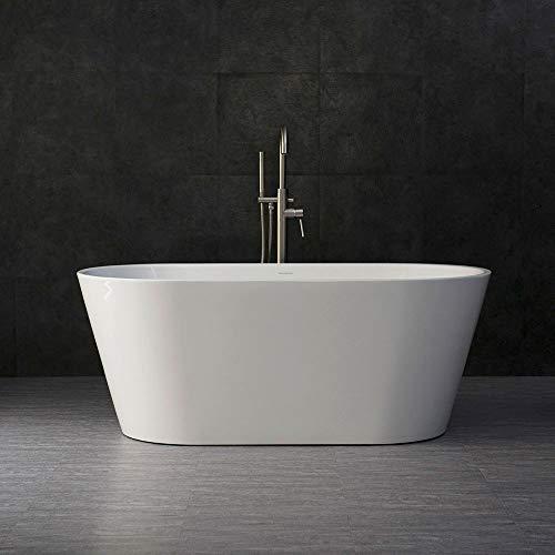 WOODBRIDGE BTA 1514 59″ Acrylic Freestanding Bathtub Contemporary Soaking Tub with Brushed ...