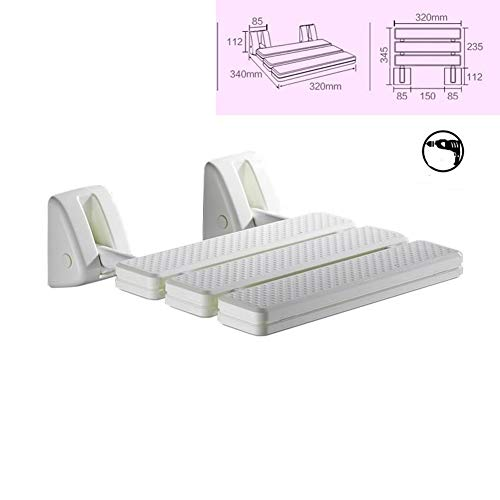 THUTNchar Folding Shower Seat, Wall Mounted Bathroom Bathtub Safety Stool Chair, Solid Wood, wit ...