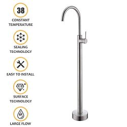 Freestanding Bathtub Faucet Tub Filler Brushed Nickel Floor Mount Faucets Brass Single Handle