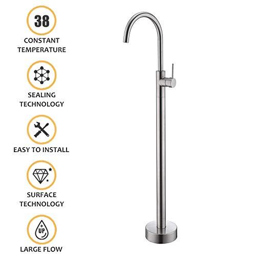 Freestanding Bathtub Faucet Tub Filler Brushed Nickel Floor Mount Faucets Brass Single Handle