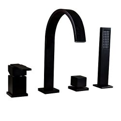 KunMai Waterfall 4-Hole Roman Tub Faucet with Hand Shower in Solid Black,Deck Mounted Bathtub Fi ...