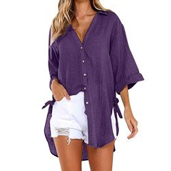 Loose Button Long Sleeve Shirt Dress Cotton Linen Blouse Casual Solid Top