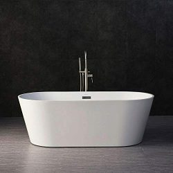 Woodbridge B-0013/BTA1513 B-0013 Acrylic Freestanding Bathtub Contemporary Soaking Tub, 67″