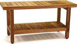 AquaTeak The Original 36″ Spa Teak Shower Bench with Shelf