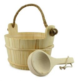 Cornucopia Wooden Sauna Bucket with Ladle, Pinewood Pail with Rope Handle and Liner with Matchin ...