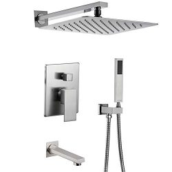 Esnbia Shower System, Brushed Nickel Shower Faucet Set with Tub Spout and 10″ Rain Shower  ...