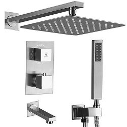 HIMK Shower system,Shower Faucet Set with Tub Spout for Bathroom and 10″ Square Rain Showe ...