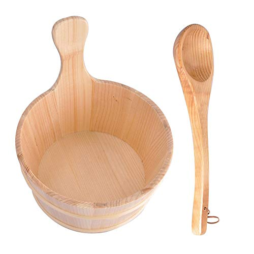 Sauna Wooden Bucket and Ladle Kit,Sauna Accessories with Liner for Sauna & SPA – Made  ...