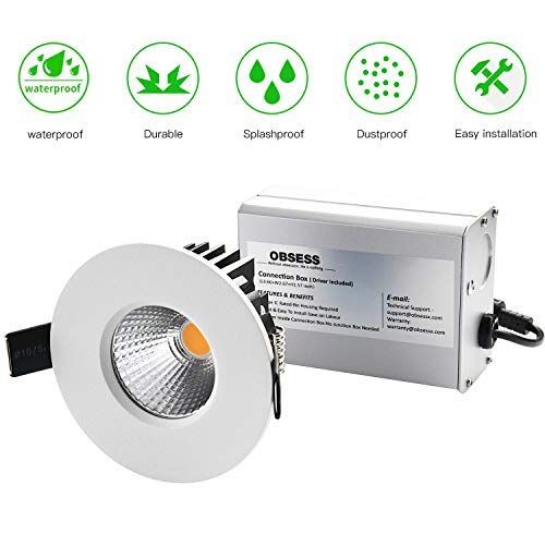 OBSESS 3-Inch IP65 Waterproof Recessed Trim with 8W COB LED Downlight, Damp Location Use, Bathro ...