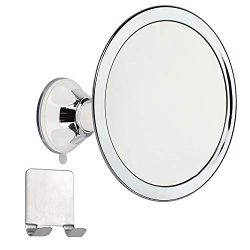 Houseables Fogless Shower Mirror, 2x Magnified, 6″, 360° Rotation, Chrome, w/Stainless Ste ...