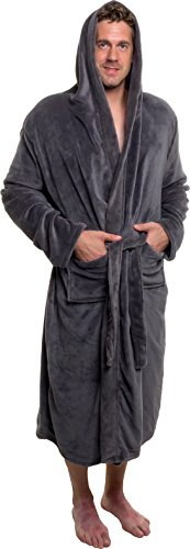 Ross Michaels Men's Hooded Robe – Plush Shawl Kimono Bathrobe for Men (Grey, XXXL)