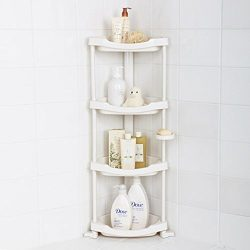 Tenby Living Corner Shower Caddy – 4 Shelf Shower Organizer Caddie with Movab.