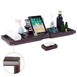 Bath Tub Tray Caddy, Bathtub Shelf Table, Clawfoot tub Accessories, Luxury Natural Wooden Bathtu ...