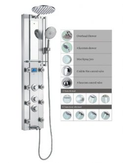 Blue Ocean 52″ Stainless Steel SPV962332 Thermostatic Shower Panel with Rainfall Shower He ...