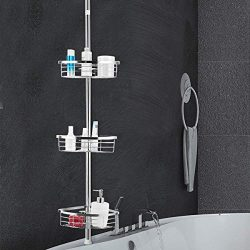 Tangkula Tension Corner Shower Caddy, Rustproof Stainless Steel Shower Caddy Pole, 3 Positionabl ...